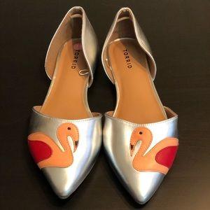 NWOT Torrid d'Orsay Metallic Flamingo Flats Sz 11